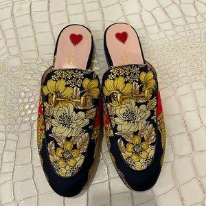 Gucci Floral Print Princetown Mules